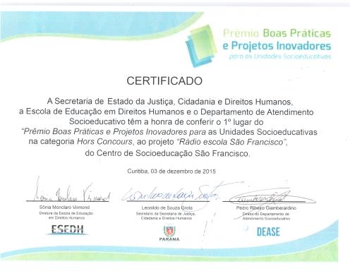 Certificado Premio Boas Práticas Socioeducação 2015